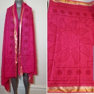 Hindu Pink Polka Dot & Mandala Print Wrap